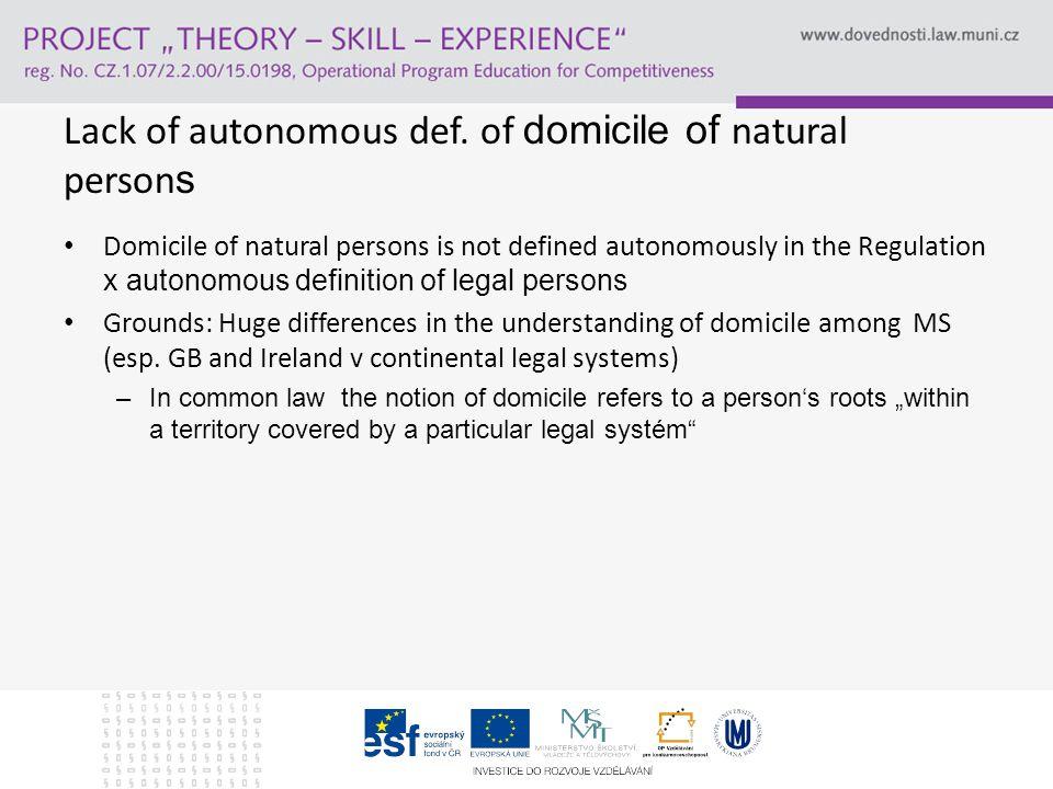 Lack of autonomous def.