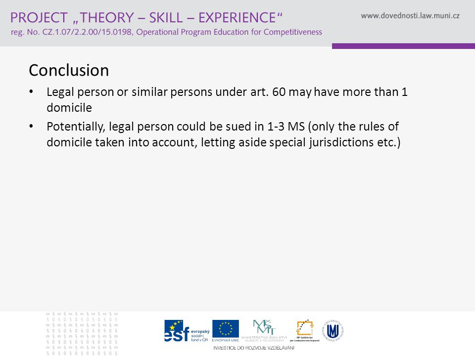 Conclusion Legal person or similar persons under art.