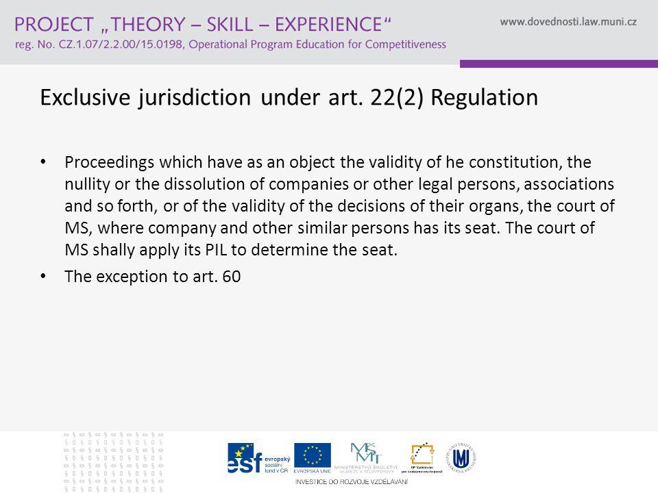 Exclusive jurisdiction under art.