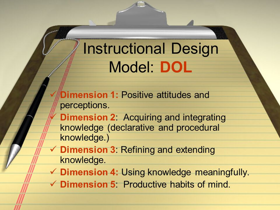 Instructional Design Model: DOL Dimension 1: Positive attitudes and perceptions. Dimension 2: Acquiring and integrating knowledge (declarative and pro
