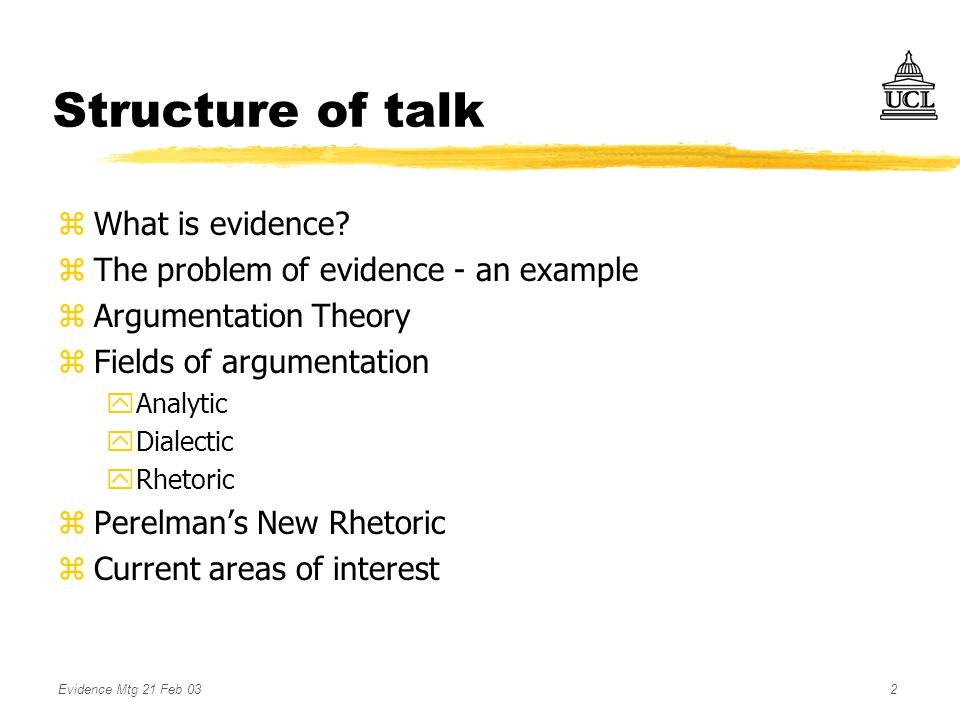 Evidence Mtg 21 Feb 032 Structure of talk zWhat is evidence.