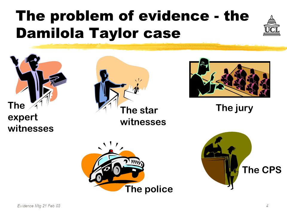 Evidence Mtg 21 Feb 034 The problem of evidence - the Damilola Taylor case The jury The star witnesses The police The CPS The expert witnesses