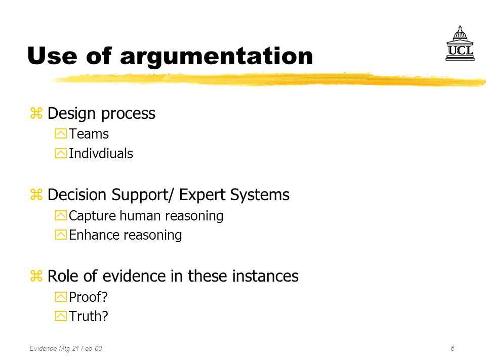 Evidence Mtg 21 Feb 036 Use of argumentation zDesign process yTeams yIndivdiuals zDecision Support/ Expert Systems yCapture human reasoning yEnhance reasoning zRole of evidence in these instances yProof.
