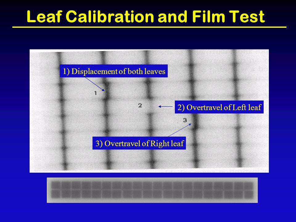 Leaf Calibration and Film Test 1) Displacement of both leaves 2) Overtravel of Left leaf 3) Overtravel of Right leaf