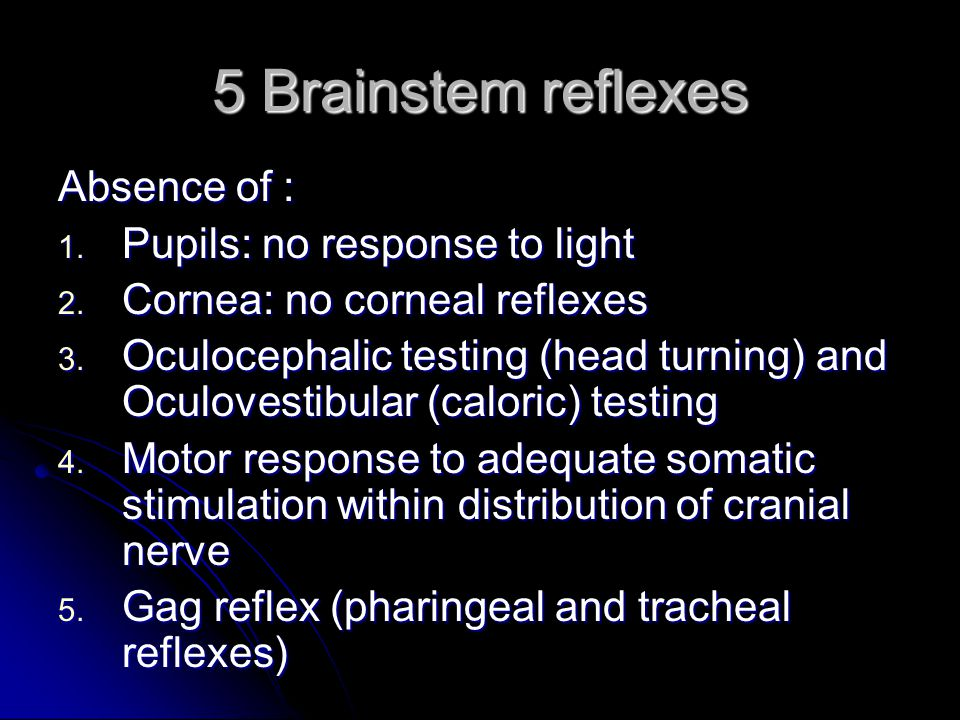 5 Brainstem reflexes Absence of : 1.Pupils: no response to light 2.