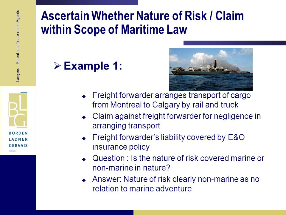 Lawyers · Patent and Trade-mark Agents Does Marine Insurance Fall within Federal or Provincial Jurisdiction .