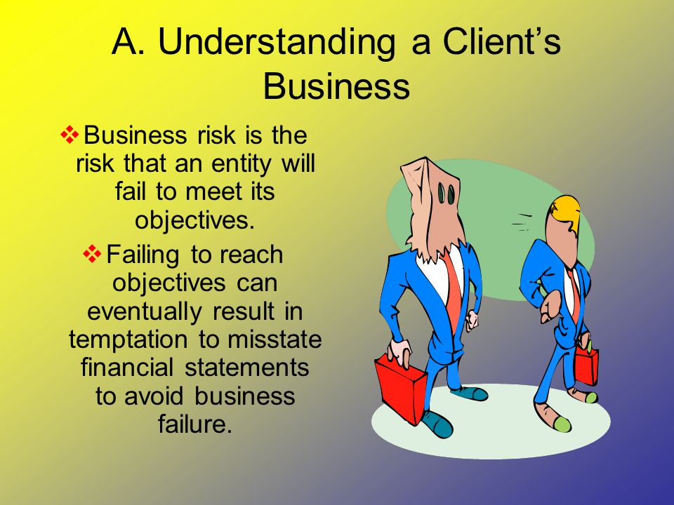 A. Understanding a Client's Business  Business risk is the risk that an entity will fail to meet its objectives.  Failing to reach objectives can ev