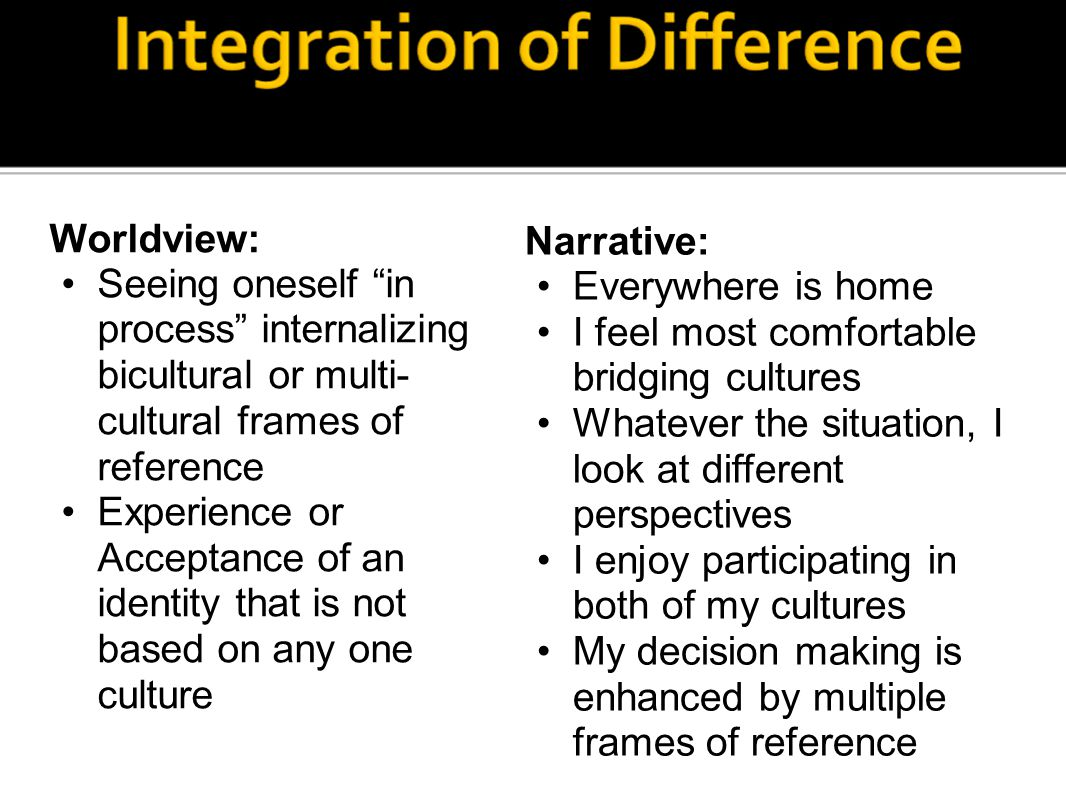 Worldview: Seeing oneself in process internalizing bicultural or multi- cultural frames of reference Experience or Acceptance of an identity that is not based on any one culture Narrative: Everywhere is home I feel most comfortable bridging cultures Whatever the situation, I look at different perspectives I enjoy participating in both of my cultures My decision making is enhanced by multiple frames of reference