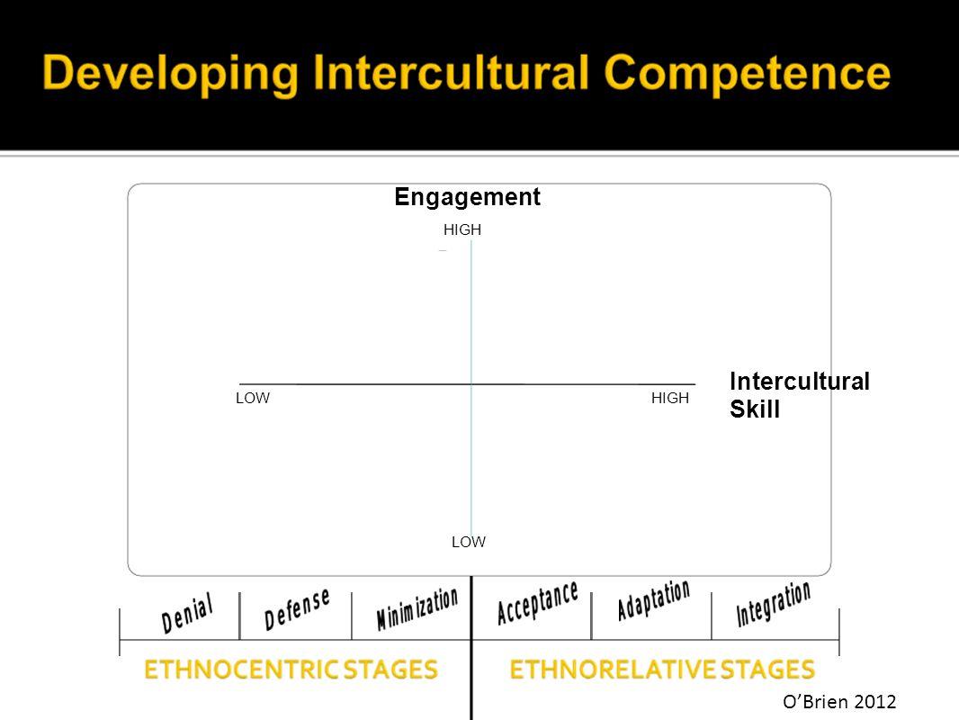 Engagement Intercultural Skill LOW HIGH LOW HIGH O'Brien 2012