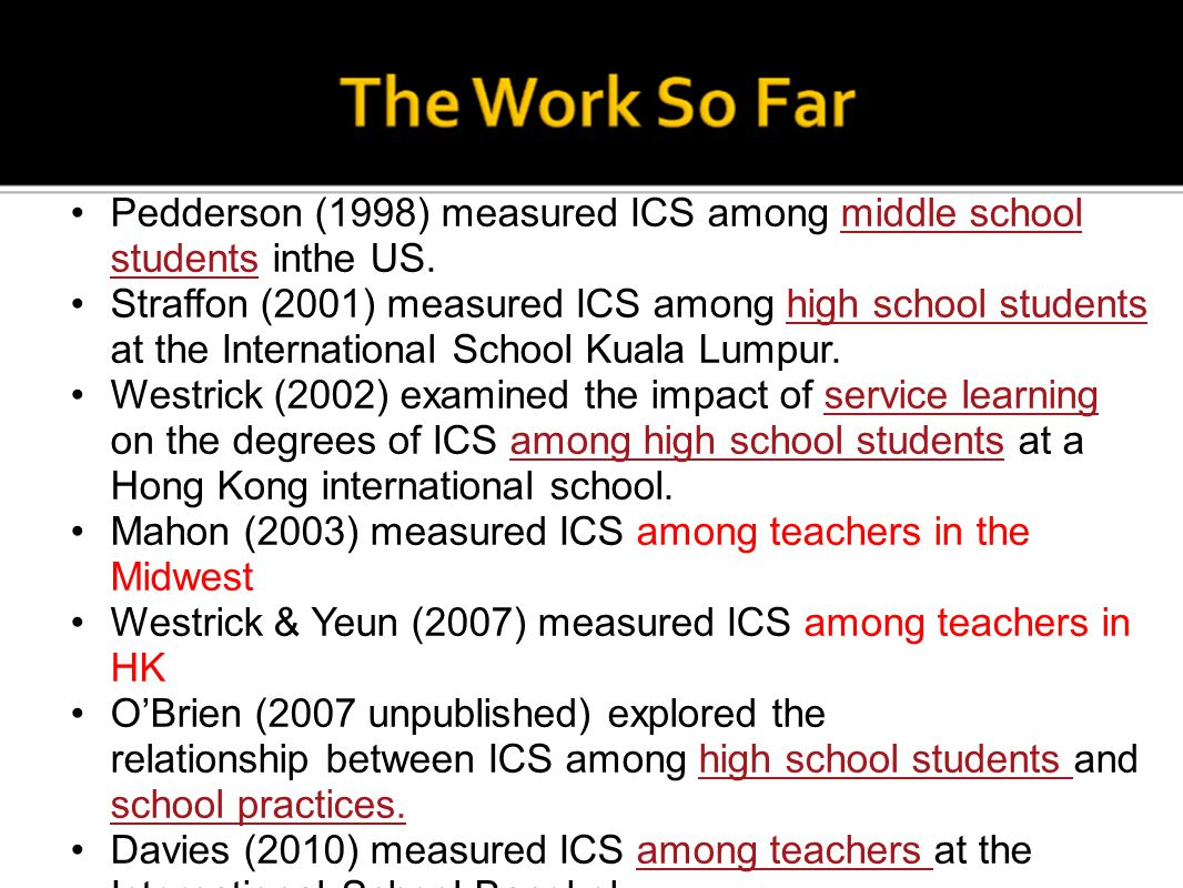 Pedderson (1998) measured ICS among middle school students inthe US. Straffon (2001) measured ICS among high school students at the International Scho