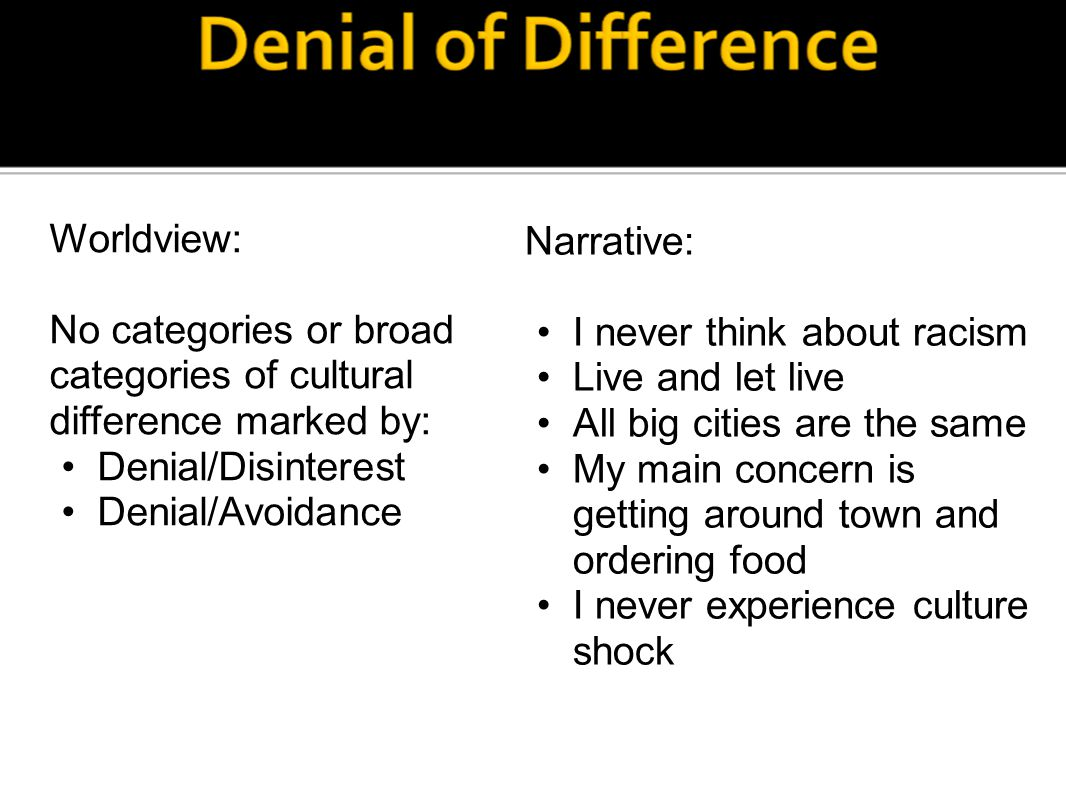 Worldview: No categories or broad categories of cultural difference marked by: Denial/Disinterest Denial/Avoidance Narrative: I never think about racism Live and let live All big cities are the same My main concern is getting around town and ordering food I never experience culture shock