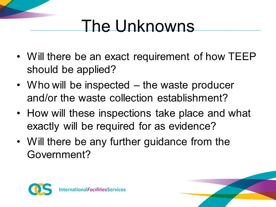 The Unknowns Will there be an exact requirement of how TEEP should be applied.