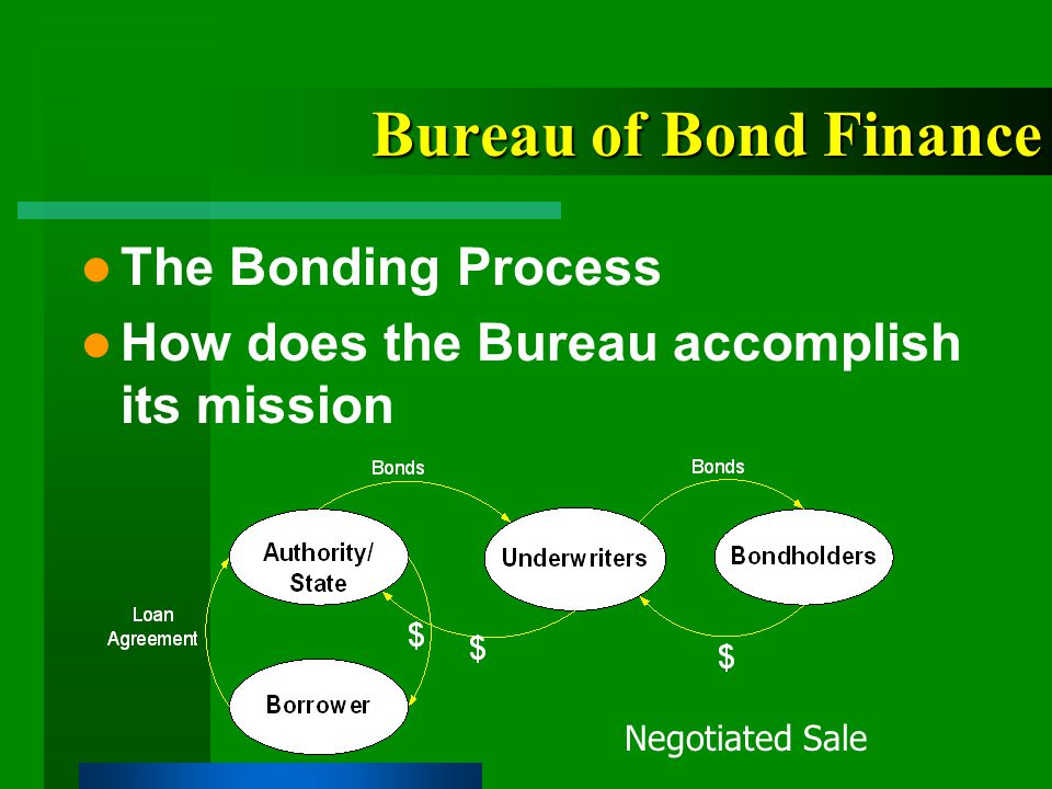 Bureau of Bond Finance The Bonding Process How does the Bureau accomplish its mission Negotiated Sale