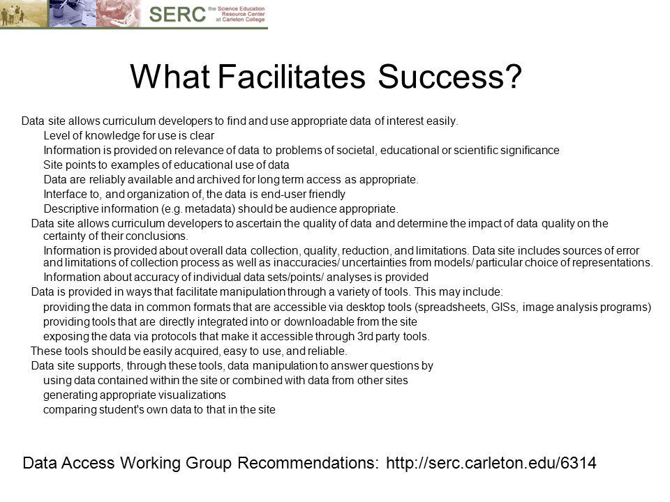 What Facilitates Success.