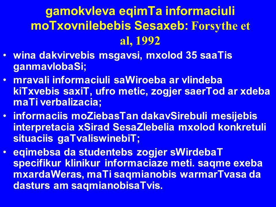 gamokvleva eqimTa informaciuli moTxovnilebebis Sesaxeb: Forsythe et al, 1992 wina dakvirvebis msgavsi, mxolod 35 saaTis ganmavlobaSi; mravali informac