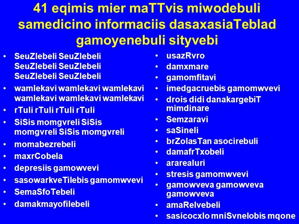 41 eqimis mier maTTvis miwodebuli samedicino informaciis dasaxasiaTeblad gamoyenebuli sityvebi SeuZlebeli SeuZlebeli SeuZlebeli wamlekavi wamlekavi wa
