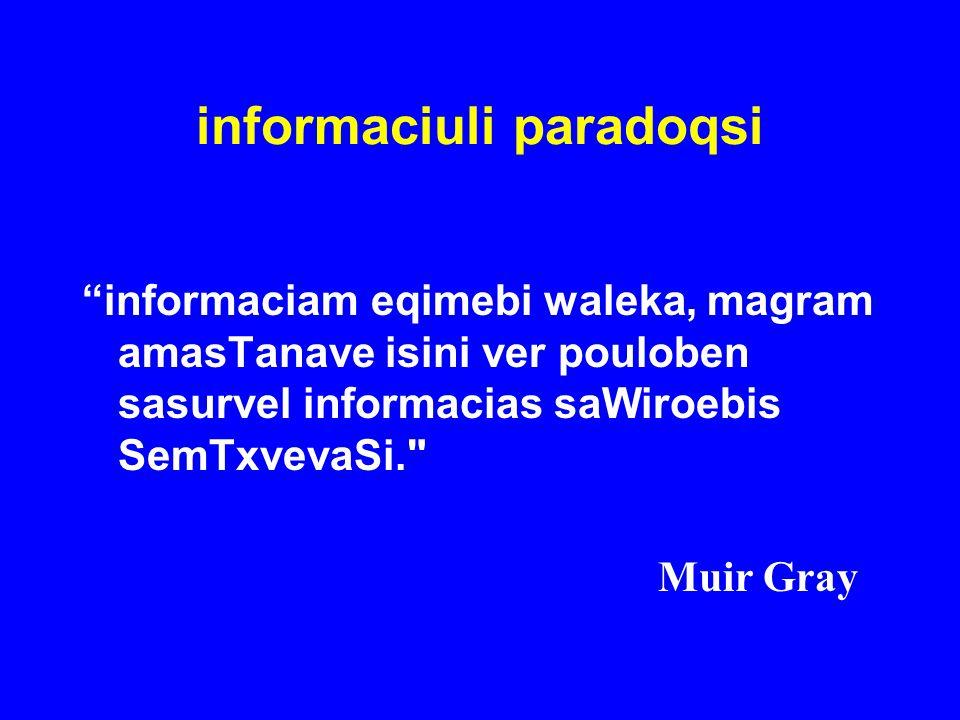 """informaciuli paradoqsi """"informaciam eqimebi waleka, magram amasTanave isini ver pouloben sasurvel informacias saWiroebis SemTxvevaSi."""