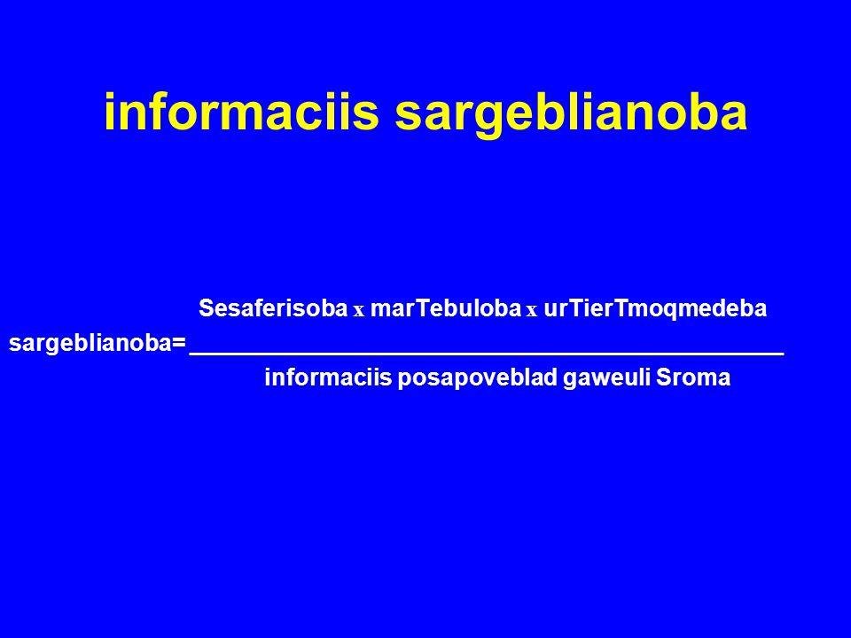 informaciis sargeblianoba Sesaferisoba x marTebuloba x urTierTmoqmedeba sargeblianoba= _____________________________________________ informaciis posap