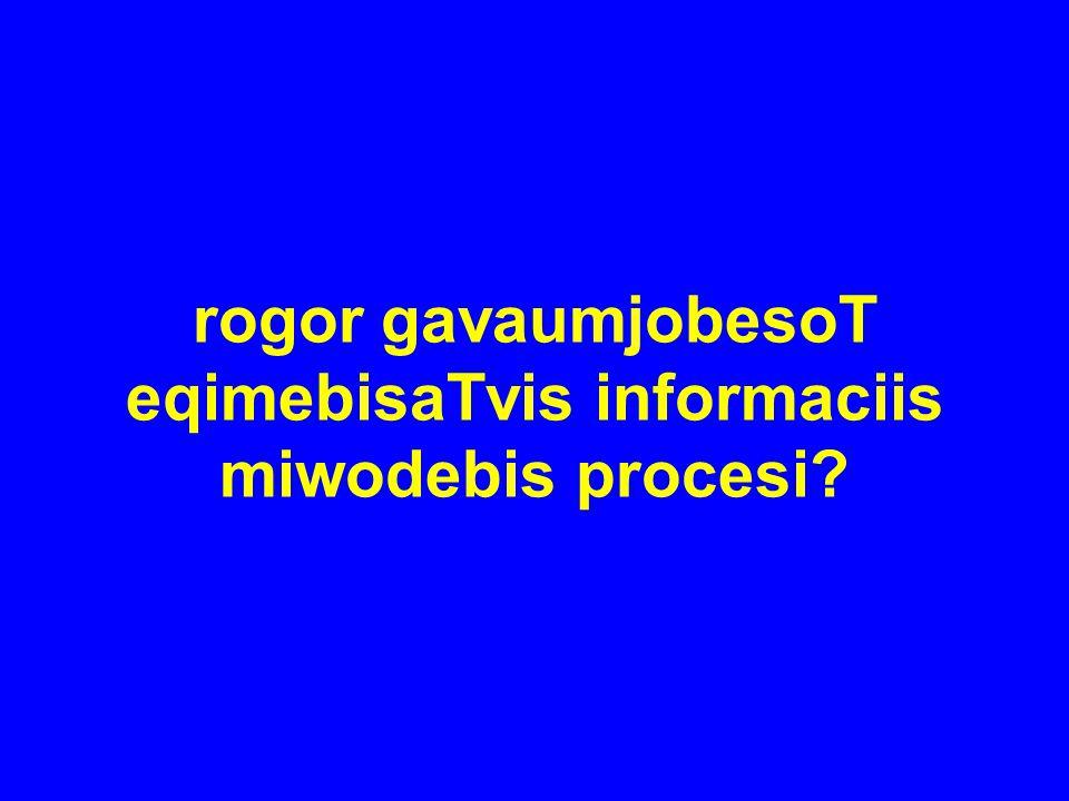 rogor gavaumjobesoT eqimebisaTvis informaciis miwodebis procesi?