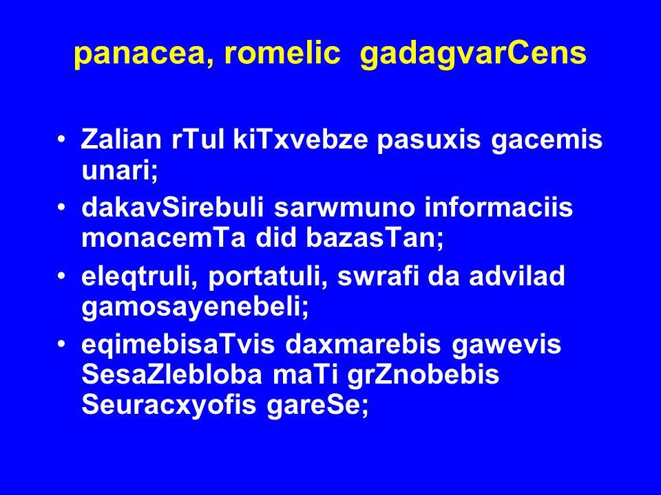 panacea, romelic gadagvarCens Zalian rTul kiTxvebze pasuxis gacemis unari; dakavSirebuli sarwmuno informaciis monacemTa did bazasTan; eleqtruli, porta