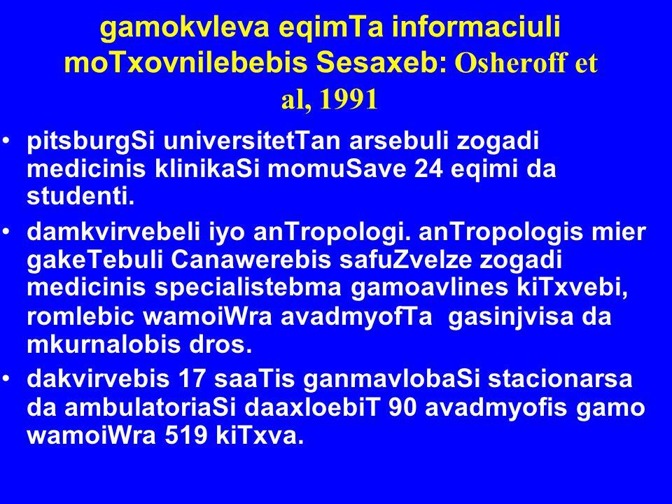 gamokvleva eqimTa informaciuli moTxovnilebebis Sesaxeb: Osheroff et al, 1991 pitsburgSi universitetTan arsebuli zogadi medicinis klinikaSi momuSave 24
