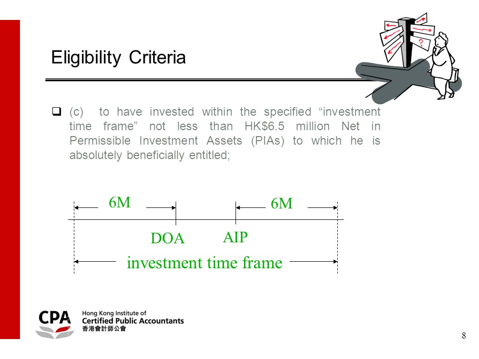 8  (c)to have invested within the specified investment time frame not less than HK$6.5 million Net in Permissible Investment Assets (PIAs) to which he is absolutely beneficially entitled; Eligibility Criteria DOA AIP investment time frame 6M