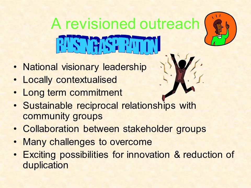 A revisioned outreach National visionary leadership Locally contextualised Long term commitment Sustainable reciprocal relationships with community gr