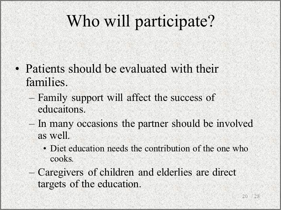 / 2820 Patients should be evaluated with their families.