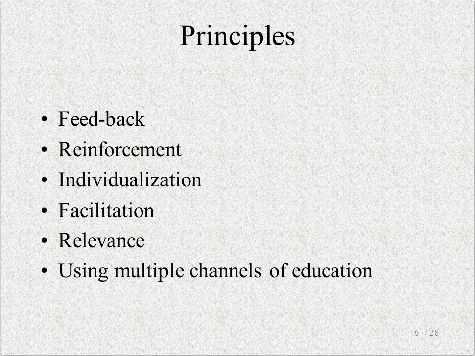 / 286 Feed-back Reinforcement Individualization Facilitation Relevance Using multiple channels of education Principles