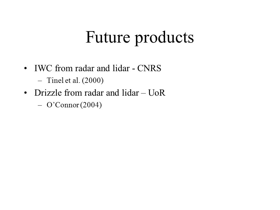 Future products IWC from radar and lidar - CNRS –Tinel et al.