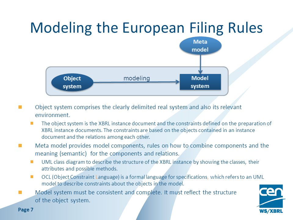Modeling the European Filing Rules Object system comprises the clearly delimited real system and also its relevant environment.