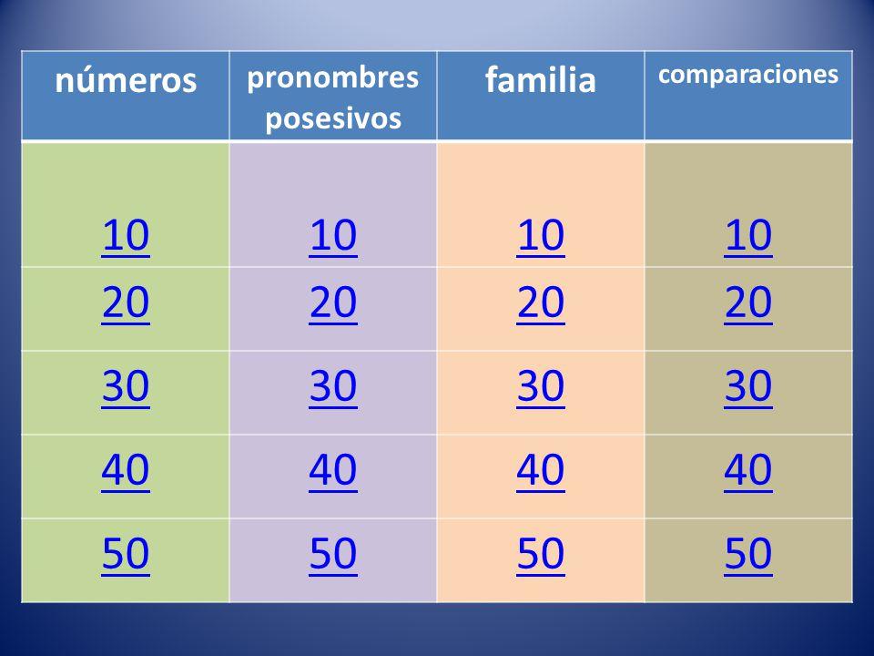 números pronombres posesivos familia comparaciones 10 20 30 40 50