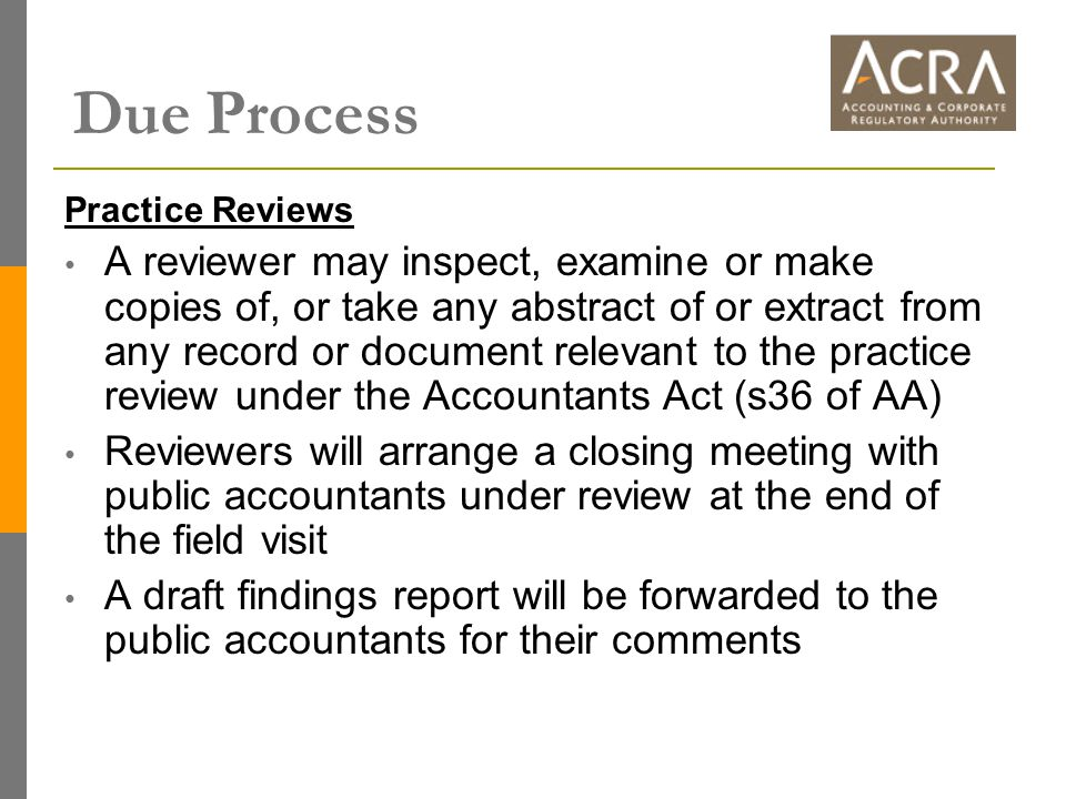 Due Process Practice Reviews A reviewer may inspect, examine or make copies of, or take any abstract of or extract from any record or document relevan