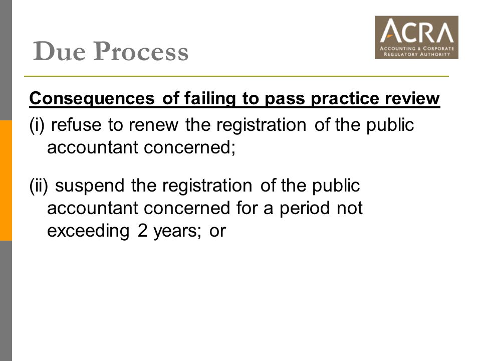 Consequences of failing to pass practice review (i) refuse to renew the registration of the public accountant concerned; (ii) suspend the registration