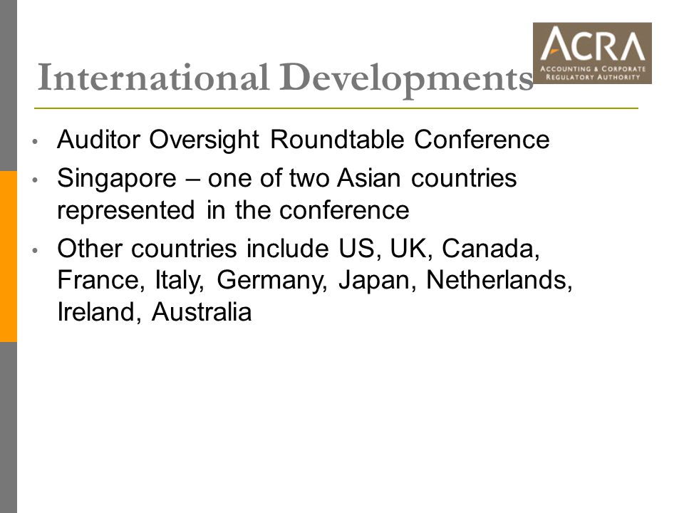 International Developments Auditor Oversight Roundtable Conference Singapore – one of two Asian countries represented in the conference Other countries include US, UK, Canada, France, Italy, Germany, Japan, Netherlands, Ireland, Australia
