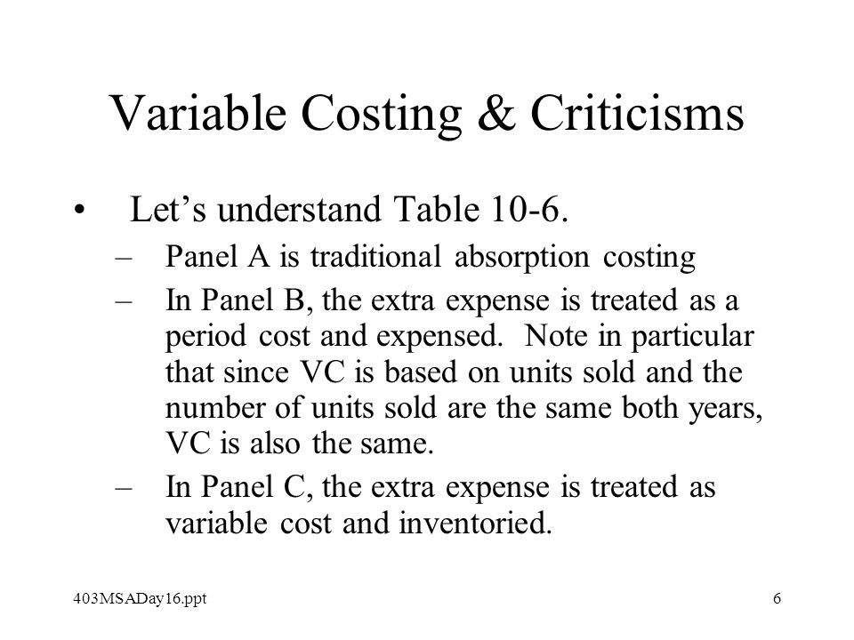 403MSADay16.ppt6 Variable Costing & Criticisms Let's understand Table 10-6.