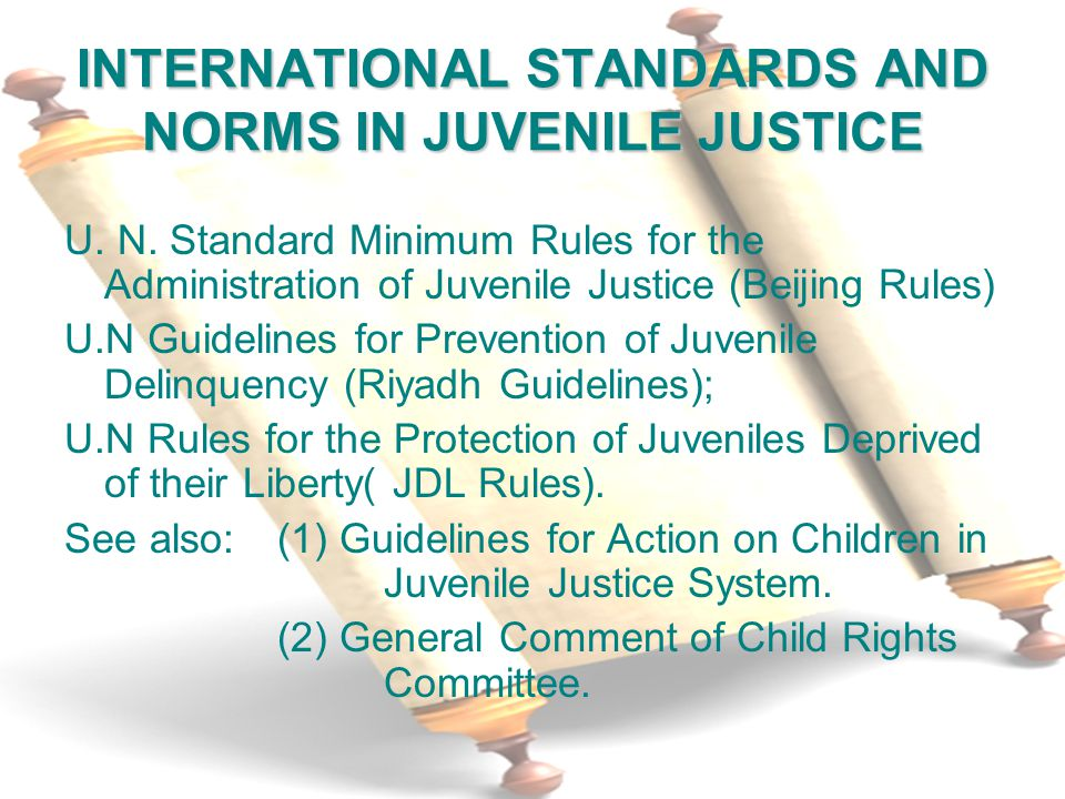 INTERNATIONAL STANDARDS AND NORMS IN JUVENILE JUSTICE U.