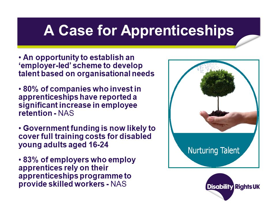 A Case for Apprenticeships An opportunity to establish an 'employer-led' scheme to develop talent based on organisational needs 80% of companies who invest in apprenticeships have reported a significant increase in employee retention - NAS Government funding is now likely to cover full training costs for disabled young adults aged 16-24 83% of employers who employ apprentices rely on their apprenticeships programme to provide skilled workers - NAS