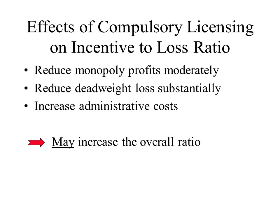 Effects of Compulsory Licensing on Incentive to Loss Ratio Reduce monopoly profits moderately Reduce deadweight loss substantially Increase administrative costs May increase the overall ratio