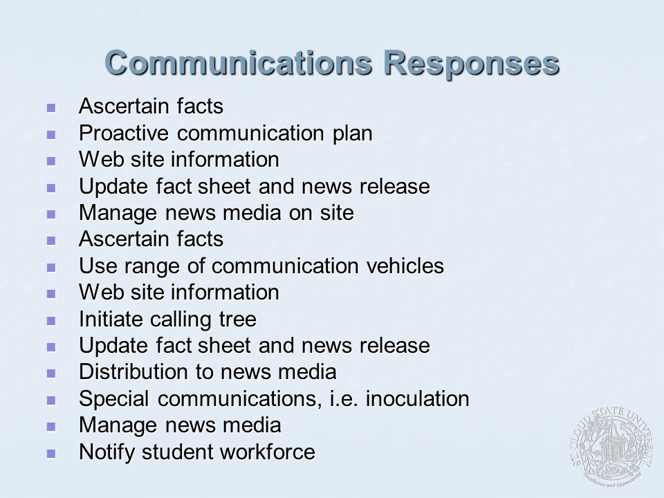 Communications Responses Ascertain facts Ascertain facts Proactive communication plan Proactive communication plan Web site information Web site information Update fact sheet and news release Update fact sheet and news release Manage news media on site Manage news media on site Ascertain facts Ascertain facts Use range of communication vehicles Use range of communication vehicles Web site information Web site information Initiate calling tree Initiate calling tree Update fact sheet and news release Update fact sheet and news release Distribution to news media Distribution to news media Special communications, i.e.