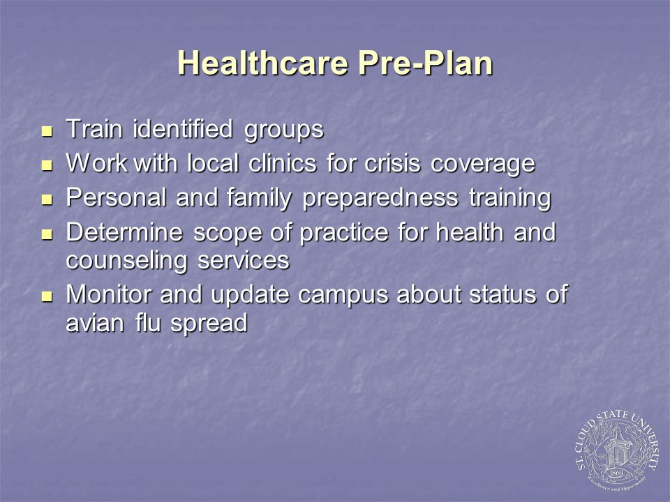 Healthcare Responses Follow public health protocols Follow public health protocols Maintain staffing Maintain staffing Provide referrals to worried well Provide referrals to worried well Extend hours of operation Extend hours of operation Department of Residential Life: assist residents Department of Residential Life: assist residents Provide protective equipment and supplies to personnel Provide protective equipment and supplies to personnel Adjust service delivery to reduce face to face contacts Adjust service delivery to reduce face to face contacts