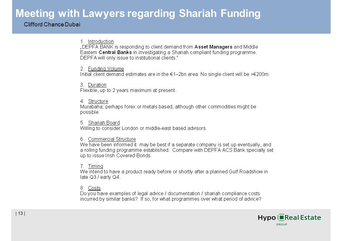| 13 | Meeting with Lawyers regarding Shariah Funding Clifford Chance Dubai
