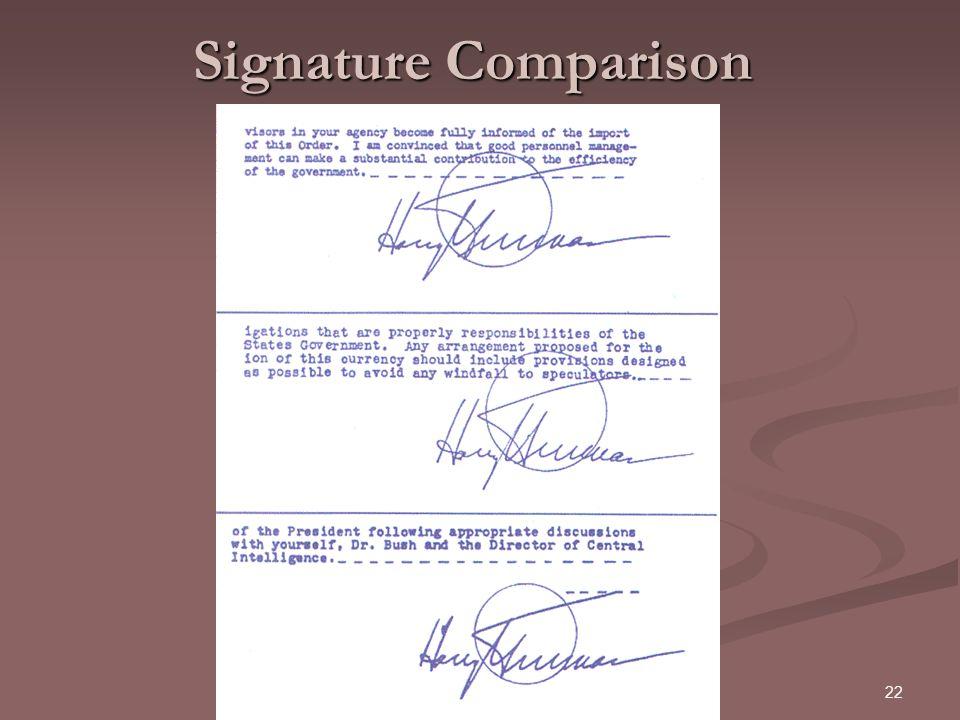 22 Signature Comparison