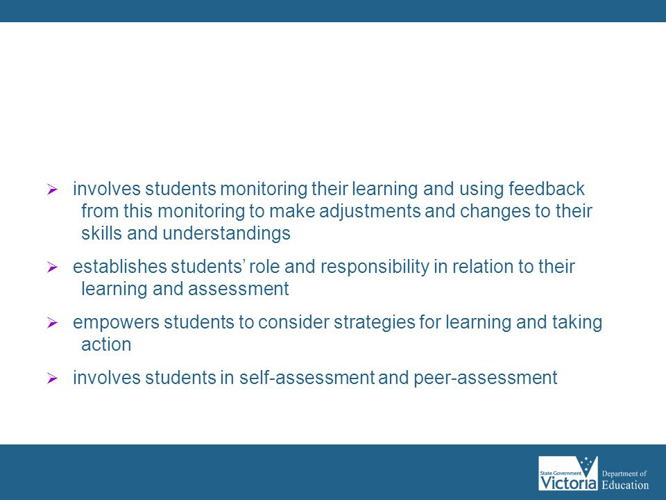 Assessment as learning: (1)  involves students monitoring their learning and using feedback from this monitoring to make adjustments and changes to t