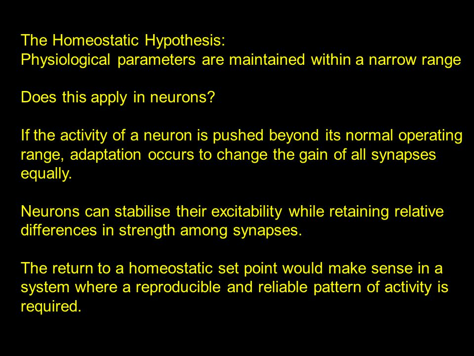 The Homeostatic Hypothesis: Physiological parameters are maintained within a narrow range Does this apply in neurons.