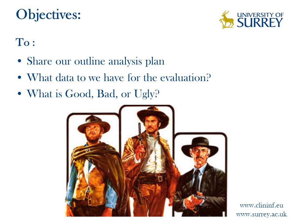 www.clininf.eu www.surrey.ac.uk Objectives: To : Share our outline analysis plan What data to we have for the evaluation.
