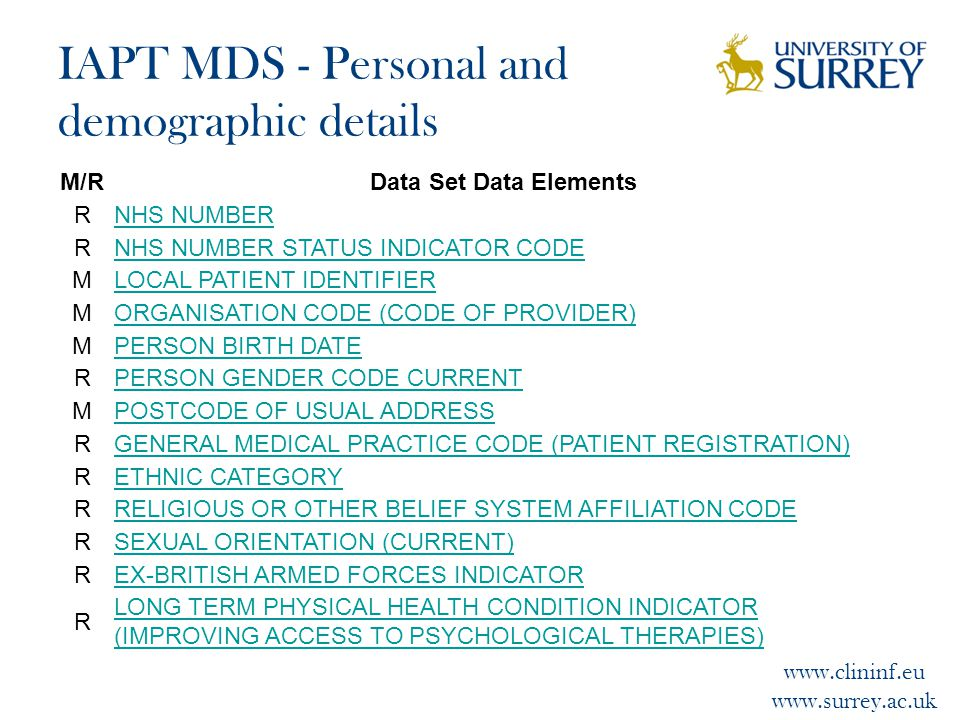 www.clininf.eu www.surrey.ac.uk IAPT MDS - Personal and demographic details M/RData Set Data Elements RNHS NUMBER RNHS NUMBER STATUS INDICATOR CODE MLOCAL PATIENT IDENTIFIER MORGANISATION CODE (CODE OF PROVIDER) MPERSON BIRTH DATE RPERSON GENDER CODE CURRENT MPOSTCODE OF USUAL ADDRESS RGENERAL MEDICAL PRACTICE CODE (PATIENT REGISTRATION) RETHNIC CATEGORY RRELIGIOUS OR OTHER BELIEF SYSTEM AFFILIATION CODE RSEXUAL ORIENTATION (CURRENT) REX-BRITISH ARMED FORCES INDICATOR R LONG TERM PHYSICAL HEALTH CONDITION INDICATOR (IMPROVING ACCESS TO PSYCHOLOGICAL THERAPIES)