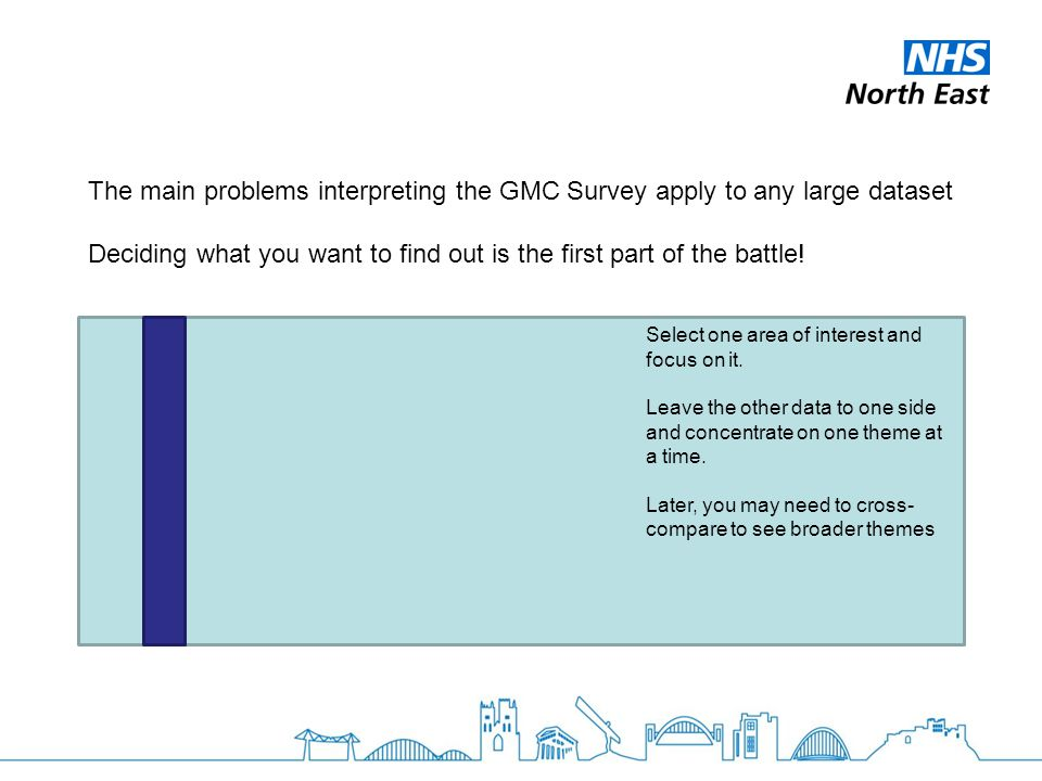 The main problems interpreting the GMC Survey apply to any large dataset Deciding what you want to find out is the first part of the battle.