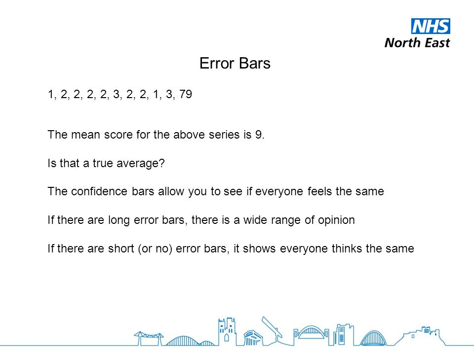 Error Bars 1, 2, 2, 2, 2, 3, 2, 2, 1, 3, 79 The mean score for the above series is 9.