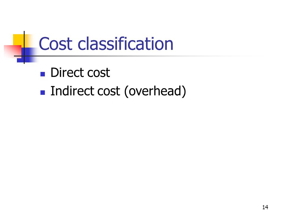 14 Cost classification Direct cost Indirect cost (overhead)